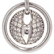 Picture of 07664: Stunning Circular White Cubic Zirconia Heart Style Necklace in Precious Sterling Silver