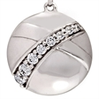 Picture of 07675: Pretty Round Sterling Silver Stud Earrings with White Cubic Zirconias and Smooth Sweeping Contours