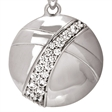 Picture of 07676: Pretty Round Sterling Silver Necklace with White Cubic Zirconias and Smooth Sweeping Contours