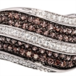 Picture of 07699: Elegant Sterling Silver Dress Ring with Sparkling Cubic Zirconias in White and Rich Brown Tones