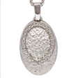 Picture of 08407: Sterling Silver Oval Shaped Moon Rock Textured Necklace with Oval Path of White Cubic Zirconias