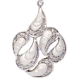 Picture of 08413: Striking Sterling Silver Necklace with Gleaming White Curves and Sweeping Cubic Zirconia Paths