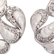 Picture of 08414: Gorgeous Bright White Curvy Hook Earrings with Sparkling Texture and White Cubic Zirconia Paths