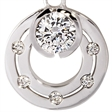 Picture of 08464: Gorgeous Hoop Style Rub Over Set Multiple White Cubic Zirconia Necklace in Sterling Silver