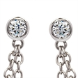 Picture of 08572: Rub Over Set Multiple White Cubic Zirconia Sterling Silver Drop Earrings with Pretty Chain Detail