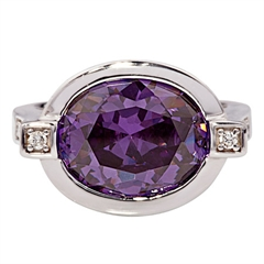 Picture of 08148: Gorgeous Deep Purple Sterling Silver Dress Ring with Cubic Zirconia Shoulder Detail