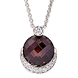 Picture of 08159: Gorgeous Maroon Stone Sterling Silver Necklace with Cubic Zirconia Crescent Detail