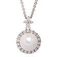 Picture of 08165: Gorgeous Moon White Pearl Necklace with Twinkling Cubic Zirconia Bail Detail