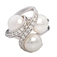 Picture of 07693: Beautiful Sterling Silver Dress Ring with Three White Pearls and Cubic Zirconia Detail