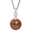 Picture of 08649: Enchanting Copper Pearl Necklace with Sterling Silver and White Cubic Zirconia Setting