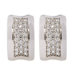 Picture of 08134: Beautiful Sterling Silver Cuff Style Earrings with Bright Sparkling Bands of White Cubic Zirconias