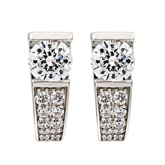 Picture of 08128: Multi-Faceted Glittering Sterling Silver Cuff Style Earrings with Decorative White Cubic Zirconias