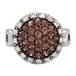 Picture of 08122: Dome Shaped Halo Style Ring with Brown and White Cubic Zirconias Set in Sterling Silver