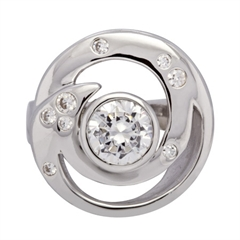 Picture of 07643: Striking Sterling Silver Swirl Dress Ring with Small Multiple Rub Over Set White Cubic Zirconia Detail