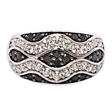 Picture of 08138: Wavy Tidal Style Dress Ring with Neat Black and White Cubic Zirconias in a Sterling Silver Band