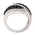 Picture of 08139: Symmetrical Swirling Shaped Black and White Cubic Zirconia Dress Ring in Precious Sterling Silver