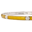 Picture of 08864: Snake Skin Textured Yellow Bangle in Shining Enamel with Bright White Cubic Zirconia Oval Details