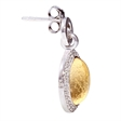 Picture of 08642: Shimmering Round Domical Yellow Leaf Sterling Silver Earrings with Halos of White Cubic Zirconia