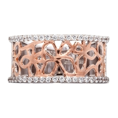 Picture of 09175: Pretty Amore Sterling Silver Rose Gold Plated Dress Ring with White Cubic Zirconia and Polished Finish