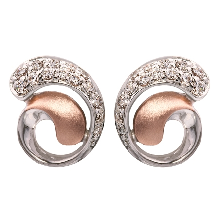 Picture of 09296: Sterling Silver Spiral Style Amore Stud Earrings With Matte Rose Gold Plating and Cubic Zirconia