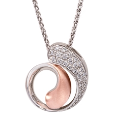 Picture of 09299: Amore Sterling Silver Spiral Style Necklace With Matte Rose Gold Plating and White Cubic Zirconia