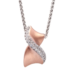 Picture of 09301: Amore Kiss Shaped Sterling Silver Necklace With Matte Rose Gold Plating and Cubic Zirconia Curve