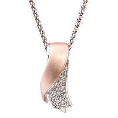 Picture of 09302: Amore Embrace Shaped Necklace with White Cubic Zirconia and Matte Rose Gold Plated Finish