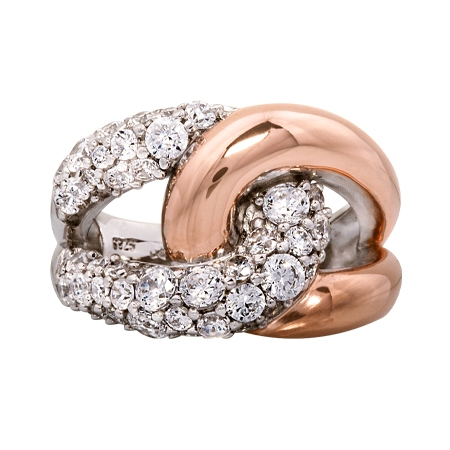 Picture of 09181: Amore Sterling Silver and White Cubic Zirconia Ring with Rose Gold High Polish Finish