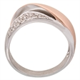 Picture of 09304: Cubic Zirconia Embrace Shaped Amore Dress Ring With Matte Rose Gold Plating in Sterling Silver