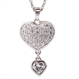 Picture of 09708: Beautiful Sterling Silver Microset Heart Shaped Drop Necklace with White Cubic Zirconias
