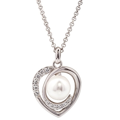 Picture of 09758: Pretty Sterling Silver Heart Shape Pearl and Cubic Zirconia Necklace