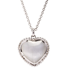 Picture of 09757: Sterling Silver Shimmering Heart Necklace with Mother of Pearl