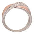 Picture of 09303: Amore Kiss Shaped Dress Ring With White Cubic Zirconia Curve in Beautiful Matte Plating of Rose Gold
