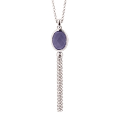 Picture of 09810: Sterling Silver Purple Coloured Oval Shaped Crystal Pendant with Cascading Fringe Chains