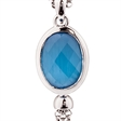 Picture of 09811: Sterling Silver Blue Coloured Oval Shaped Crystal Pendant with Cascading Fringe Chains