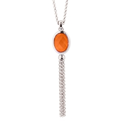 Picture of 09812: Sterling Silver Orange Coloured Oval Shaped Crystal Pendant with Cascading Fringe Chains