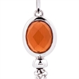 Picture of 09793: Sterling Silver Oval Shaped Orange Crystal Hook Earrings with Playful Chain Fringe Detail