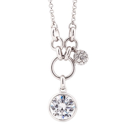 Picture of 09709: White Cubic Zirconia Sterling Silver Pendant with Micro Set Ball Charm and Hoop Detail