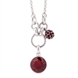 Picture of 09805: Red Cubic Zirconia Sterling Silver Pendant with Micro Set Ball Charm and Hoop Detail