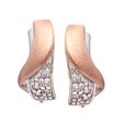Picture of 09297: Sterling Silver Embrace Shaped Earrings in Matte Rose Gold Plating with White Cubic Zirconias