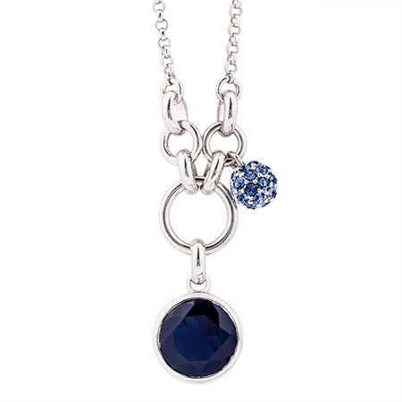Picture of 09806: Blue Cubic Zirconia Sterling Silver Pendant with Micro Set Ball Charm and Hoop Detail
