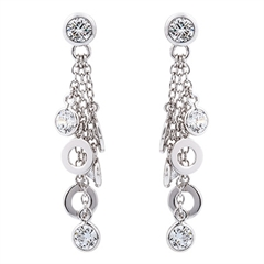 Picture of 08561: Multiple White Stone and Disc Stud Drop Earrings with Pretty Sterling Silver Chain Detail