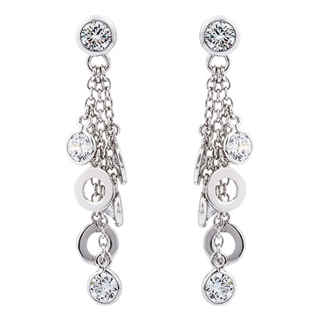 Picture Of 08561 Multiple White Stone And Disc Stud Drop Earrings With Pretty Sterling Silver