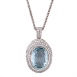 Picture of 09461: Gorgeous Oval Blue Topaz Sterling Silver Pendant with Sparkling White Cubic Zirconias