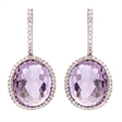 Picture of 09414: Oval Shaped Amethyst and Sparkling White Cubic Zirconia Earrings in Sterling Silver