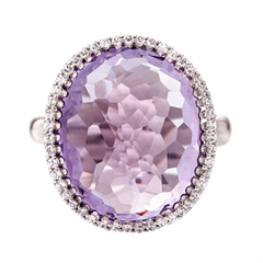 Picture of 09415: Radiant Oval Shaped Amethyst and Sterling Silver Ring with White Cubic Zirconia