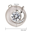Picture of 07640: Round Sterling Silver Necklace with White Cubic Zirconias and Fixed Round Link Chain