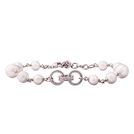 Picture of 08550: Pretty White Pearl Bracelet with Sterling Silver Chain Links and White Cubic Zirconias