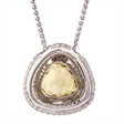 Picture of 09457: Stunning Yellow Quartz Pendant with Sparkling White Cubic Zirconia Stones in Sterling Silver Halo Setting