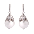 Picture of 08563: Beautiful White Pearl Hook Earrings with Leaf Design and White Cubic Zirconias